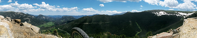 Panorama with unicycle, Rainbow Curve, Rocky Mountain National Park