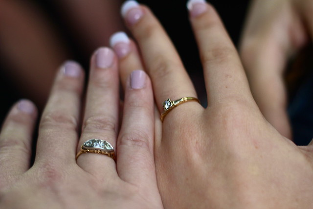 Meg and me, Grandma's rings.