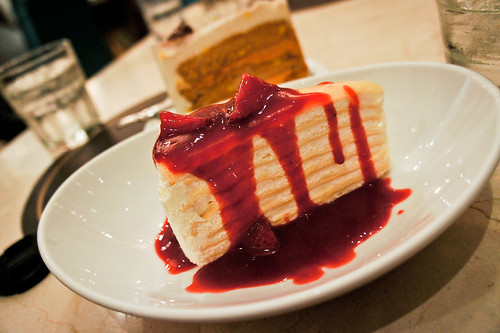 Vanilla Cake with Strawberry Sauce