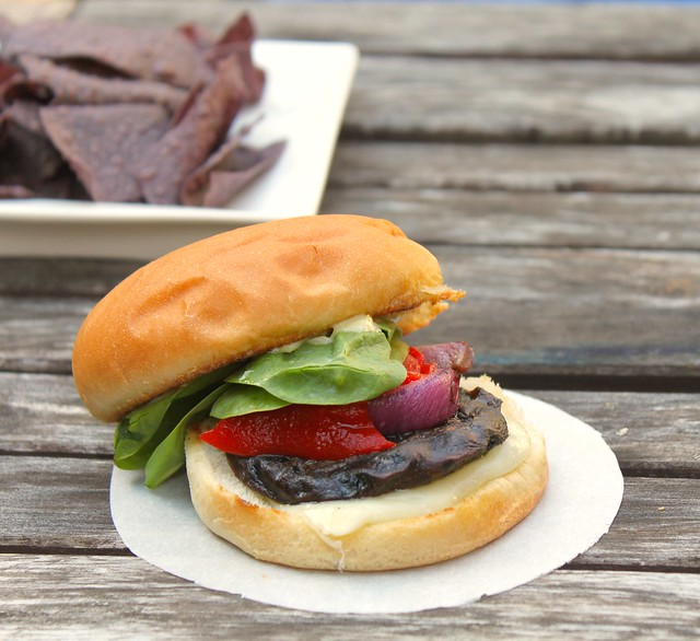 Grilled Portobello Mushroom Burgers with Red Onion, Roasted Red ...