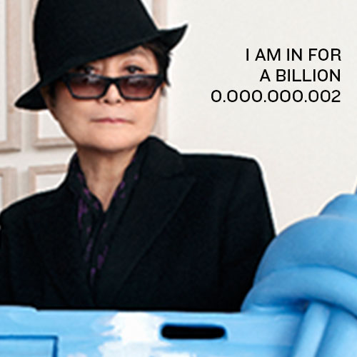 0.000.000.002: Hi, I am Yoko Ono from USA. I was married to John Lennon and I am now a Non-Violence and Peace Ambassador to pay tribute to his legacy. Join the movement and GIVE PEACE A FACE by signing up your face just like me…and write a message to the world right here.  Love you! Yoko