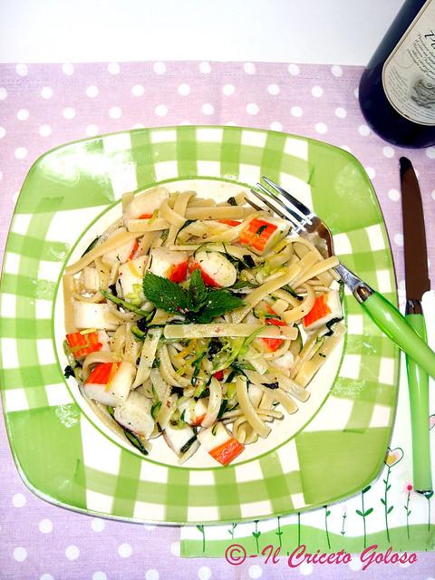 Scialatielli al limone, surimi e zucchine
