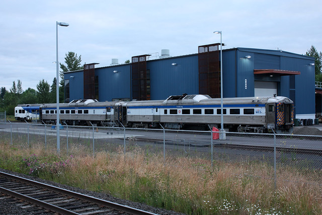 TriMet RDC units #1702 and #1711 at the shops in Wilsonville Oregon.  July 8 2011.