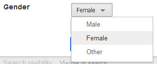 Gender Menu on Google+