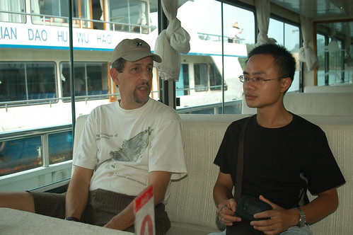 Eric talking with Dr. Wen