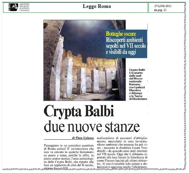 CRYPTA BALBI - DUE NUOVE STANZE. Botteghe oscure, Riscoperti ambienti sepolti nel VII secolo e visibili da oggi. LEGGO ROMA (27/07/2011), p. 21 [PDF pp. 1-2].