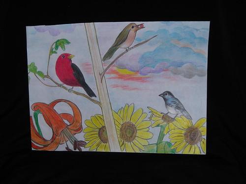 Bird drawing  by Crane-Station