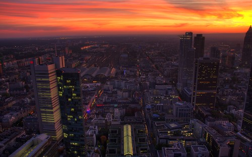 Sunset over the skyline in Frankfurt - Looking down on the trainstation
