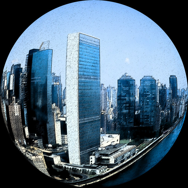 United nations fish eye effect and sumi e effect taken for Fish eye effect