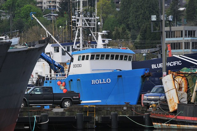 A crab boat awaits fitting out at Seattle's Fishermen's Terminal.