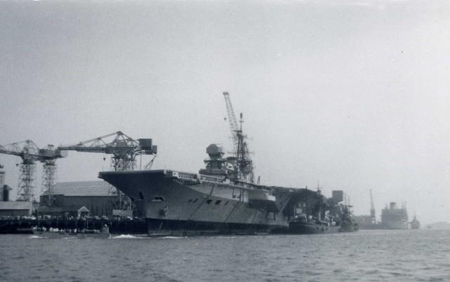 HMS Hermes (R12) Centaur Class Light Fleet Aircraft Carrier Portsmouth 1970