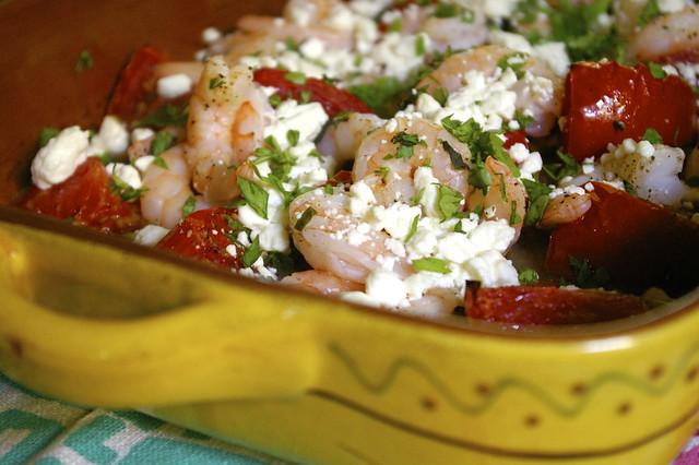 roasted tomatoes with shrimp & feta.