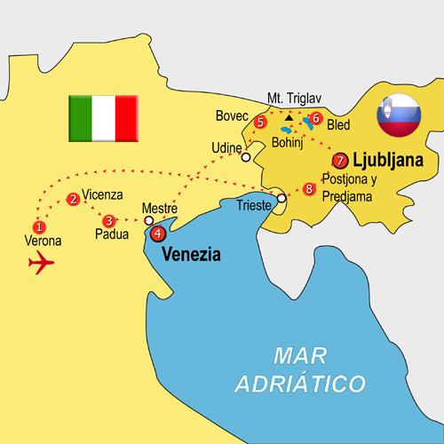 Mapa Veneto y Eslovenia