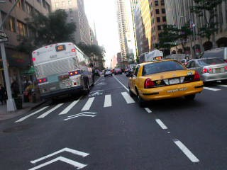 Second Avenue Sharrowed Lane, ~45th to 40th, 8:30 Friday Morning