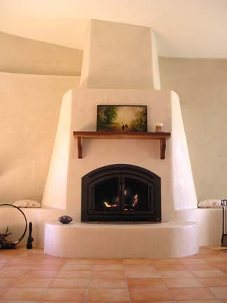 Fireplace covered with American Clay Plaster over
