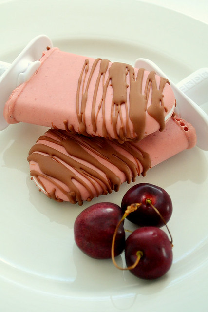 Cherry Popsicles With Homemade Magic Shell   Flickr - Photo Sharing!