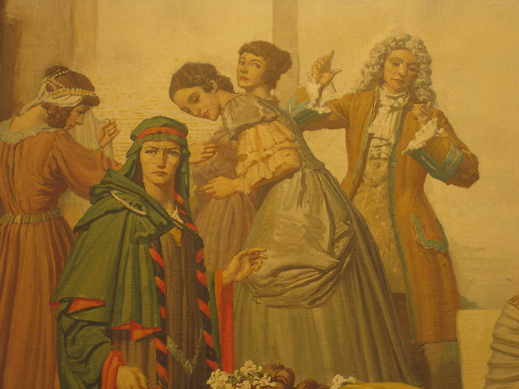 "Detail of Napier Waller's Mural ""Winter - Actresses and Drama from Medieval Times to the Present"" - Myer Emporium Mural Hall, Bourke Street, Melbourne"