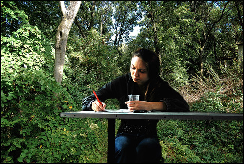 Writing poems and drinking coffe while walking in the forest can turn the whole thing into a brand new experience.