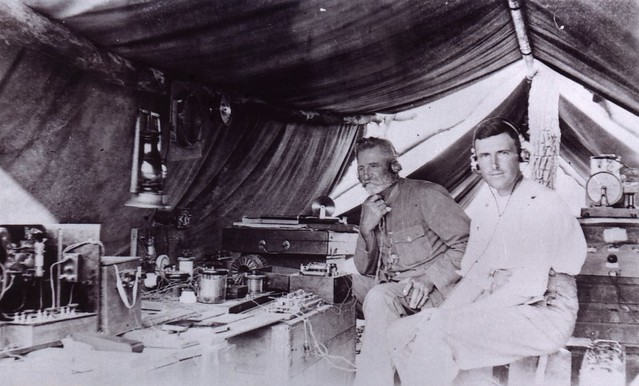 1921  M.P. Durack and A.A. Maddern in the wireless tent - KHS-2011-15-05-P2-D
