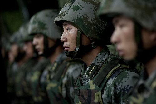 Soldiers of the Chinese People's Liberation Army 1st Amphibious Mechanized Infantry Division