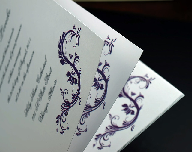Silver Foil Wedding Invitation Booklet w Purple Belly Band