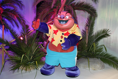 Having fun with the Characters at Stitch's Hawaiian Paradise Party