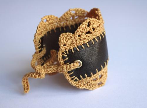 Crochet lace edging  brown jewelry bracelet