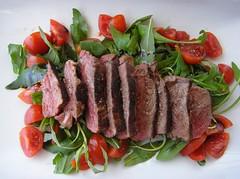 salad, veal, garnish, sirloin steak, salt-cured meat, beef tenderloin, food, dish, cuisine, roast beef,