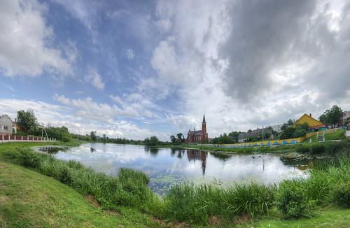 panorama lake postprocessed buildings pond travels catholic churches panoramas panoramic trips belarus stitched hdr postavy pastavy vitebskregion otherwheres