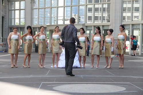 Wedding Photographer With Subjects, Wrigley Building, July 2011