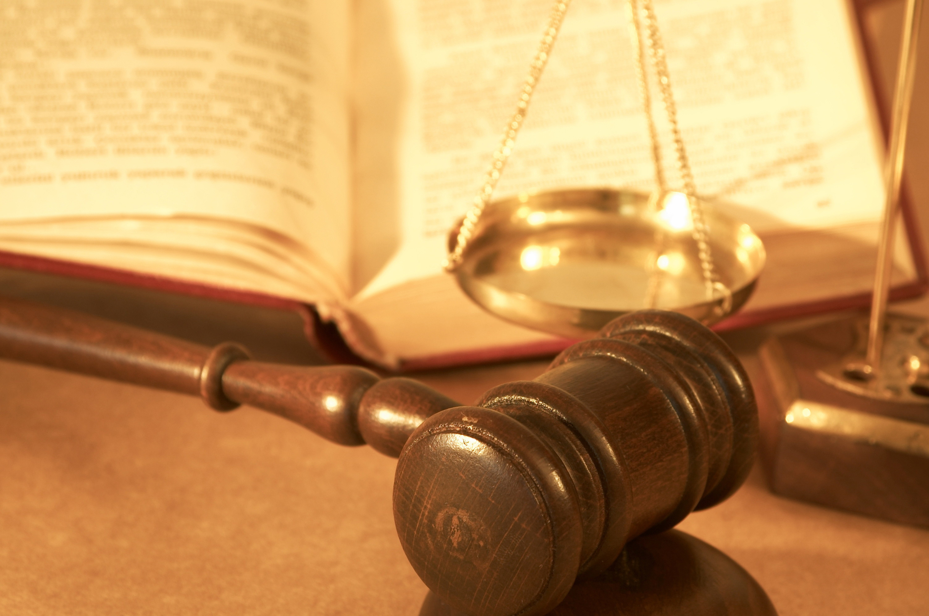 Image of gavel, scales and law book