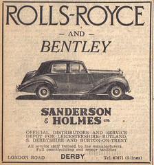 1953 ROLLS ROYCE ADVERT SANDERSON AND HOLMES LONDON ROAD DERBY