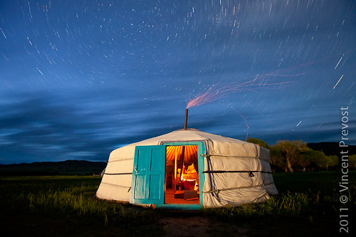 Starry night over Mongolian ger