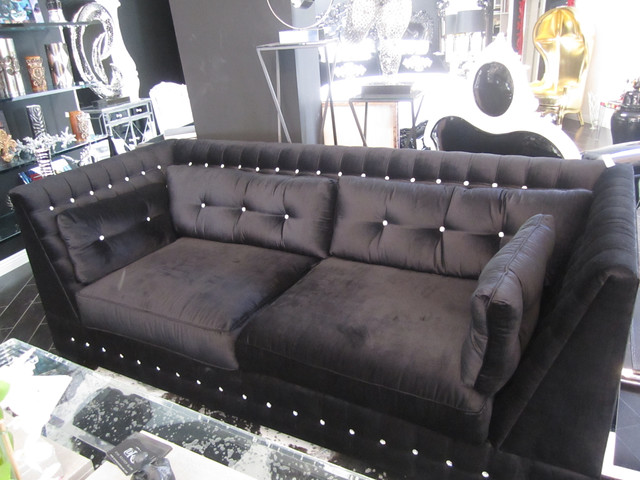 4197 Black Velvet Swarovski Crystal Sofa Custom Made