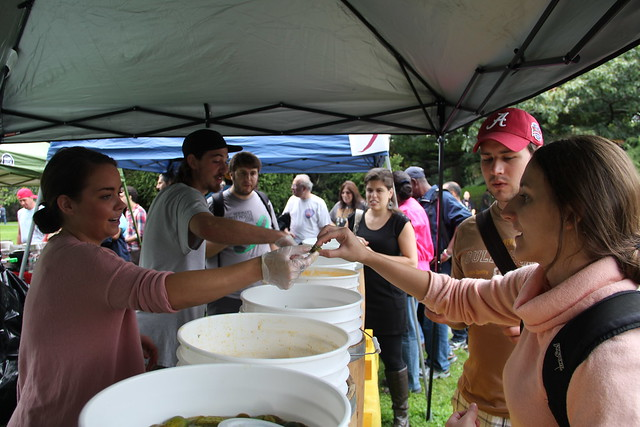 Spicy pickle samples at the 2011 Chile Pepper Fiesta. Photo by Rebecca Bullene.