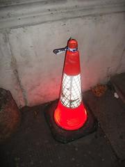 Glowing traffic cone
