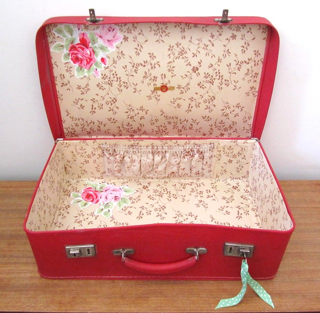 Little cherry red Vintage suitcase with Cath Kidston Decoupage