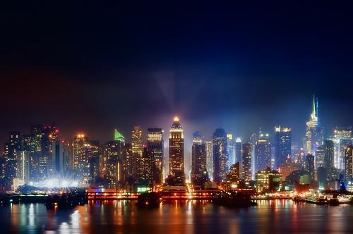 city nyc newyorkcity longexposure ny newyork reflection fog skyline night skyscraper geotagged newjersey cityscape navy timessquare bankofamerica intrepid hudsonriver gothamist aircraftcarrier hdr westnewyork mudpig oneworldwideplaza stevekelley stevenkelley