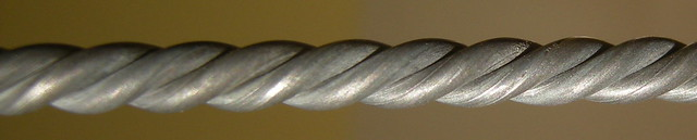 Close-up view of 3-ply twined wire