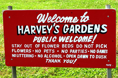 Harvey's Gardens, the Sign at