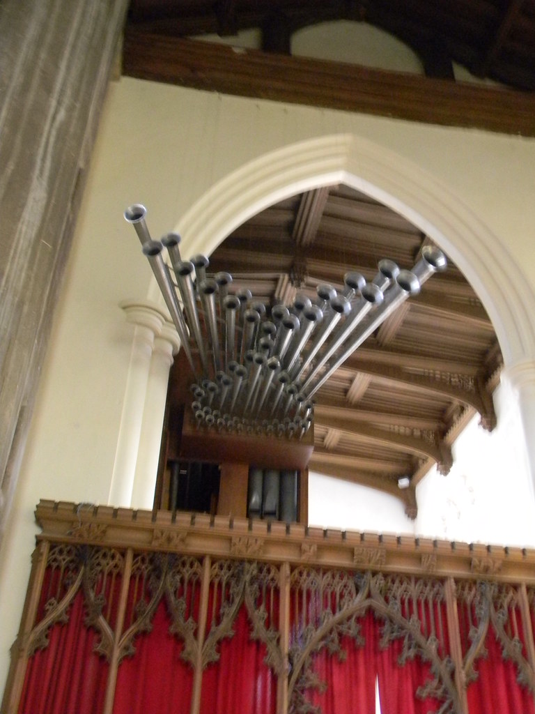 Trompettes reales Part of the organ St Mary's Saffron Walden Great Chesterford to Newport