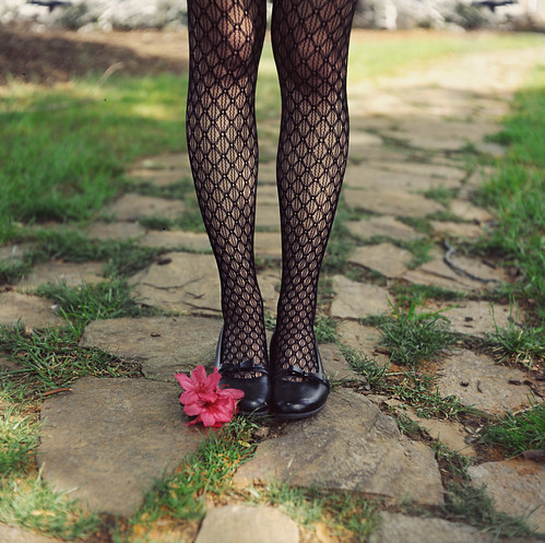 pink summer flower beautiful grass stone nc shoes legs mesh path lace tights chrome tones ektachrome e6 mamiyac330 rcc asheboro twinlens brandonwarren brandonchristopherwarren annatucker
