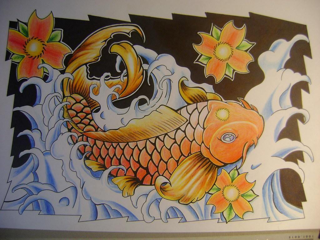 Pez Koi Ya Con Color Mi Dibujo Con Tinta Y Lapices De Colo Flickr