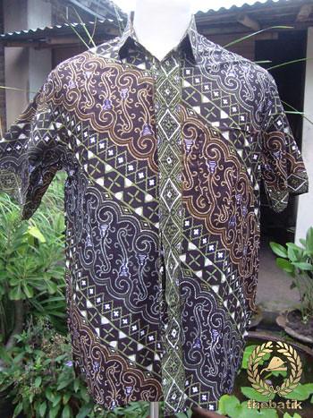 Motif Seragam Batik Baju Batik Parang Kontemporer Ungu