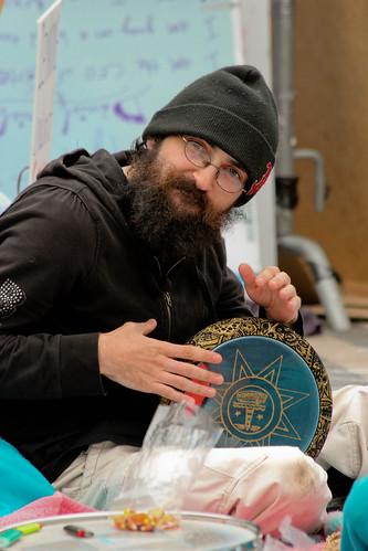 Hippie Drummer with a Beard