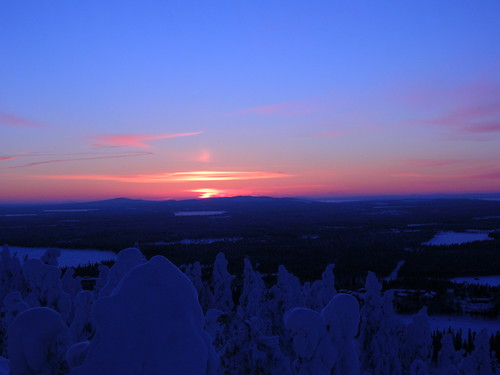 sunset snow dusk ruka