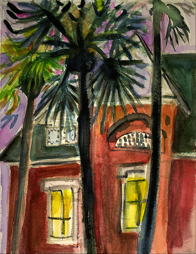 watercolor twilight palmtrees urbanlandscape victorianhouse brunswickgeorgia