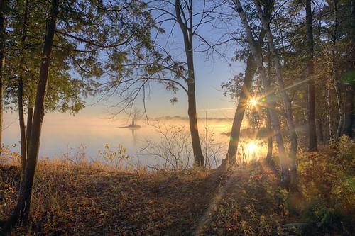 morning autumn trees sky sun lake beautiful island hdr crowelake