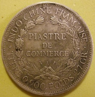 FRENCH INDOCHINA 1908 ---PIASTRE, SILVER DOLLAR SIZED COIN b