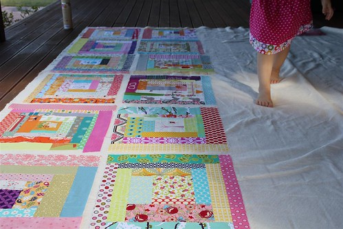 Cheeky quilt gets basted...
